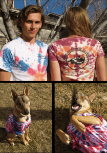 BFR Models Rose, Kyle and Ruckus show off the hand tie-dyed BFR T-shirts.