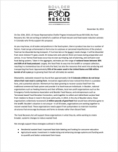 Food Recovery Act Letter of Support