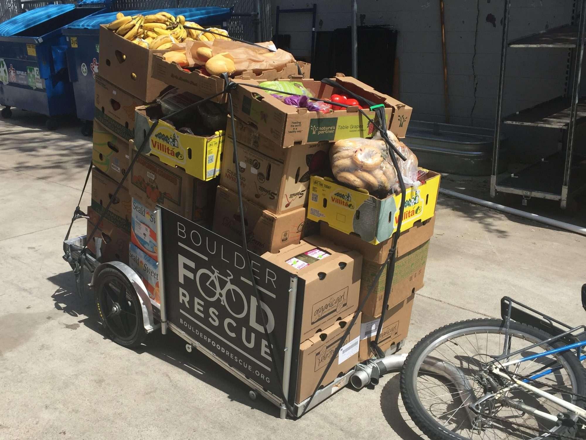 Boulder Food Rescue Bike Trailer of Food